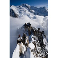 Mountaineer climbing Cosmiques